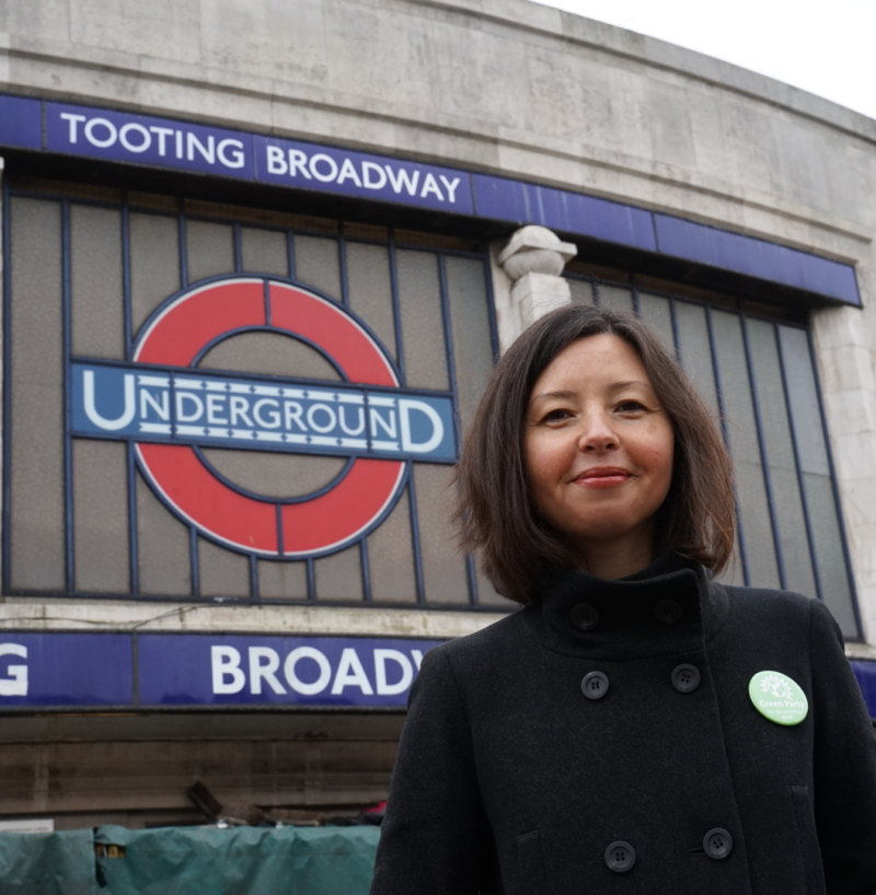 Pippa outside Tooting Broadway station