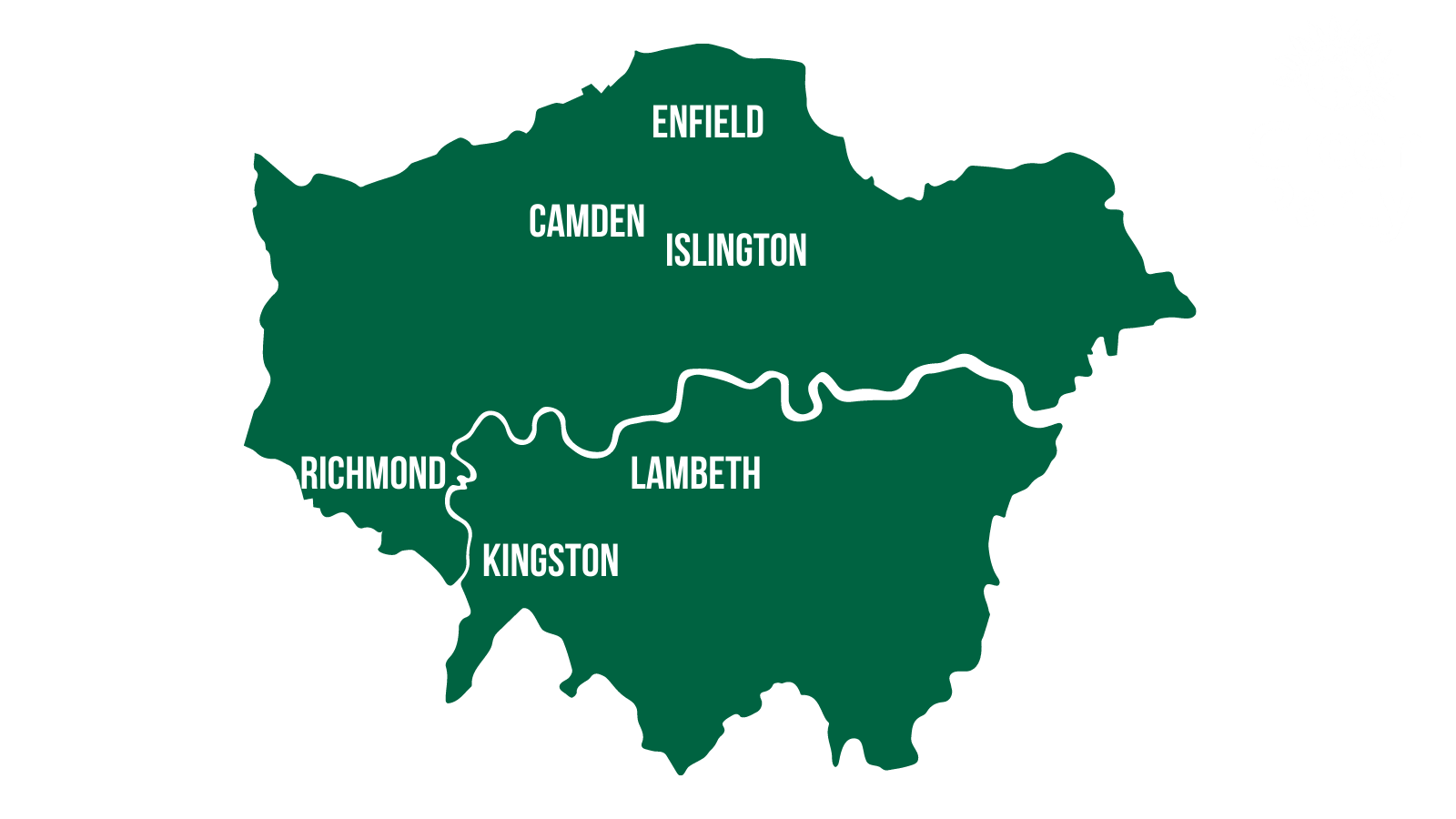 London Map showing Enfield, Camden, Islington, Lambeth, Richmond and Kingston